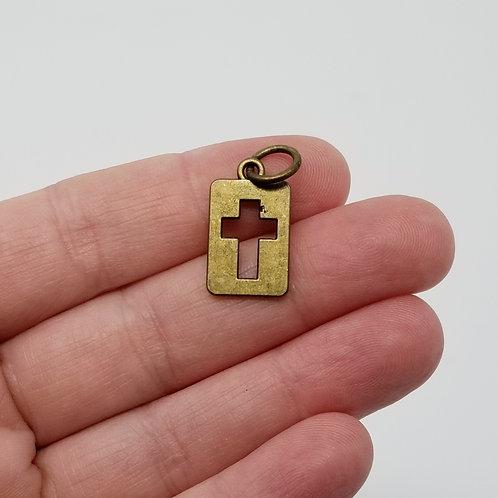 Cut Out Cross Square Antique Bronze Charm