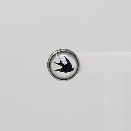 Single Bird 12mm Round Stud Earrings