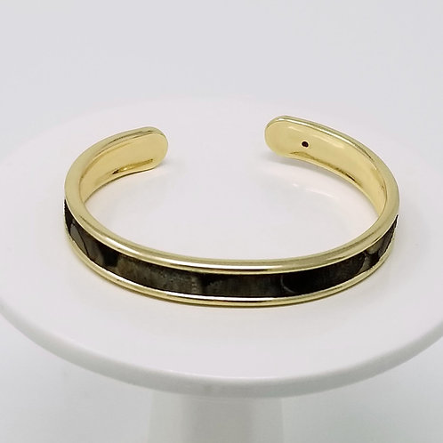 Black with Metallic Bronze Firm Leather & Metal Cuff Bracelet