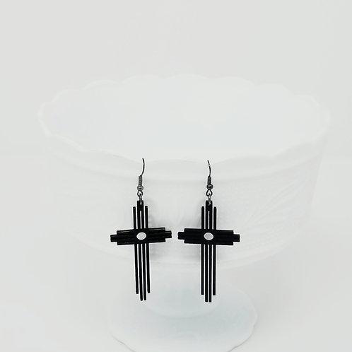 Delicate Cross Wood Earrings