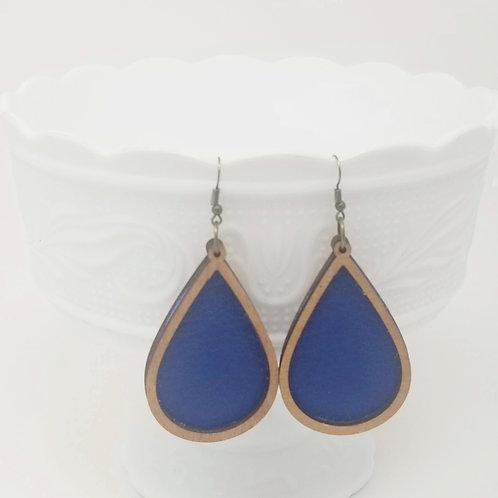 Royal Blue King Genuine Leather & Wood Earrings