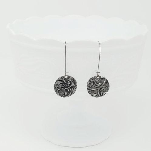 Long Circle 9 Molten Solder Earrings