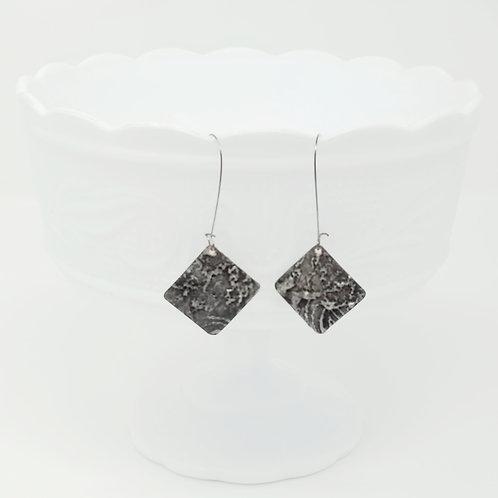 Long Diamond 2 Molten Solder Earrings