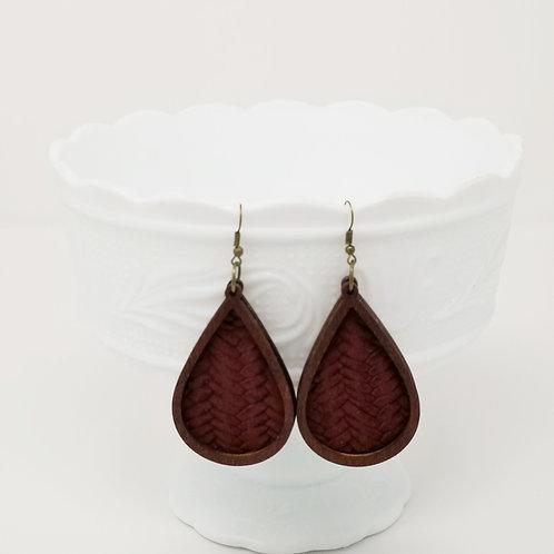 Maroon Braided Fishtail Genuine Leather & Wood Earrings