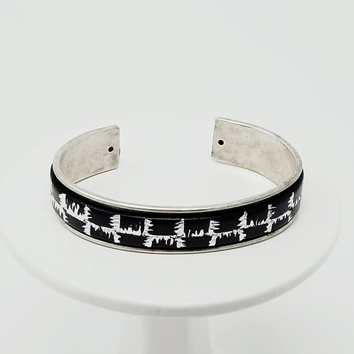 Black with Silver Heartbeat Lines Adjustable Leather & Metal Cuff Bracelet