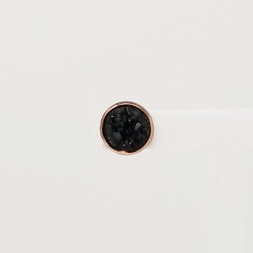 Black Faux Druzy 10mm Stud Earrings