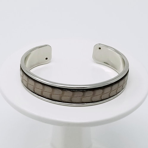 Grey Embossed Firm Leather & Metal Cuff Bracelet