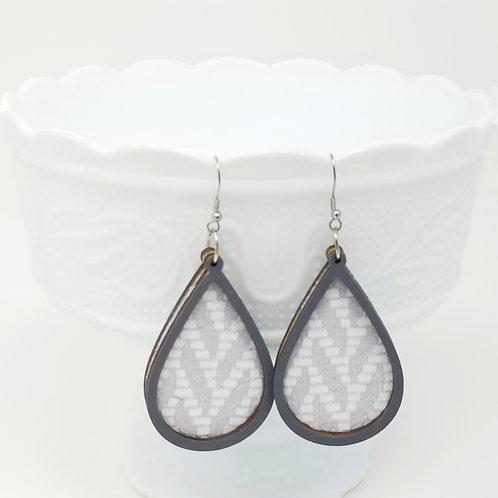 Metallic Silver & White Chevron Genuine Leather & Wood Earrings