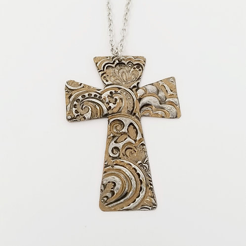 Long Bronze Cross Molten Solder Necklace 4
