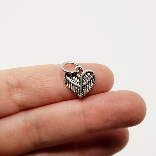 Small Wing Heart Silver Charm