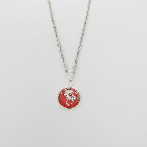 Red Silver Leaf in Antique Silver Cabochon Pendant Necklace