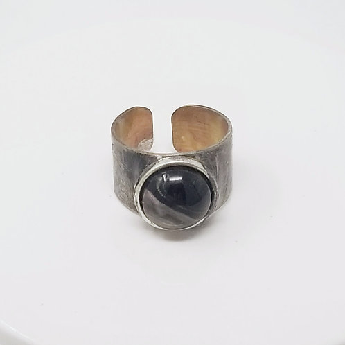 Black & Silver Obsidian Soldered Brass Ring