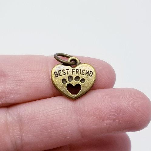 Best Friend Dog Heart Antique Bronze Charm