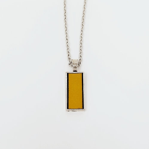 Short Mustard Leather & Metal Pendant Necklace 19
