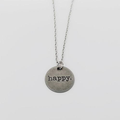"""Happy"" Word Pendant Necklace"