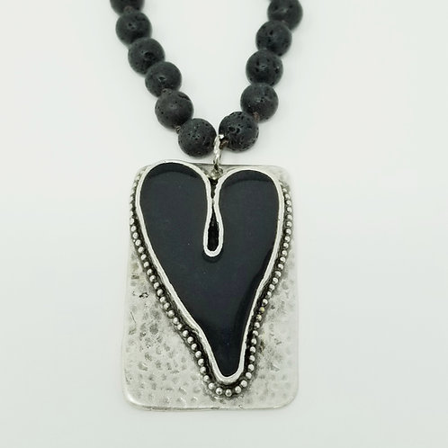 Long Beaded Black Heart Ice Resin Necklace 2
