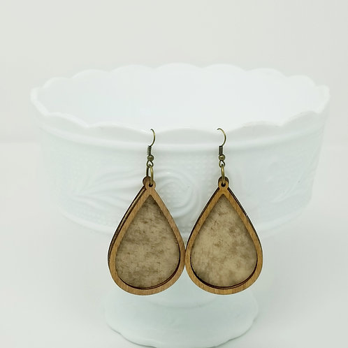Cream Carmel Distressed Artisan Genuine Leather & Wood Earrings