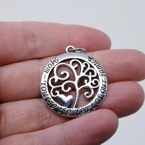 Mom Tree Silver Charm
