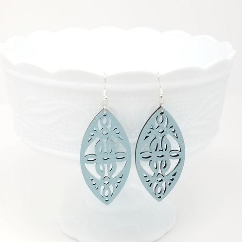 Pale Blue Wood Earrings