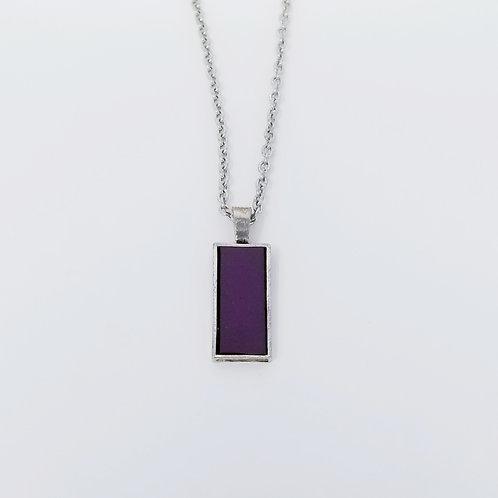 Short Deep Purple Leather & Metal Pendant Necklace 10
