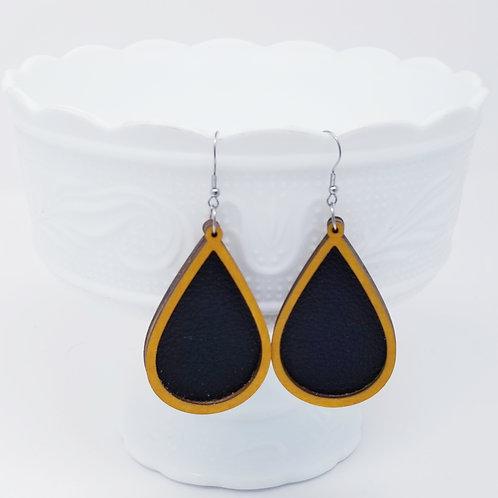 Black & Gold Genuine Leather & Wood Earrings