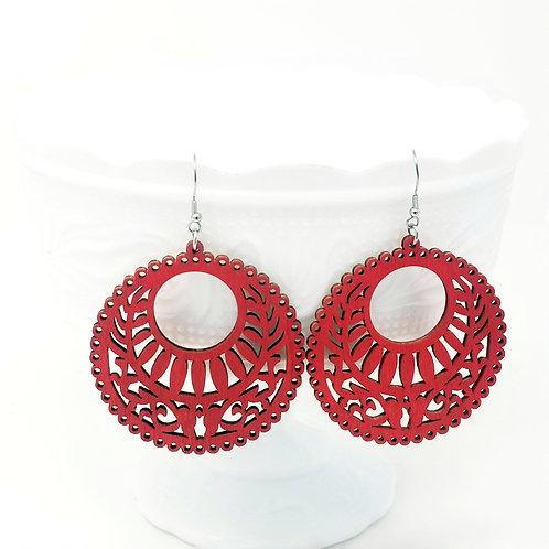 Red Wood Earrings
