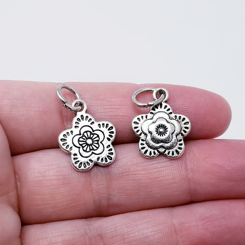 Layered Flower Silver Charm