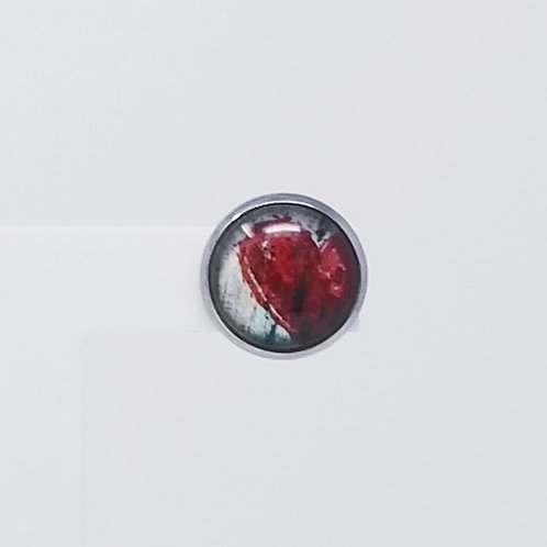 Grunge Heart 12mm Round Stud Earrings