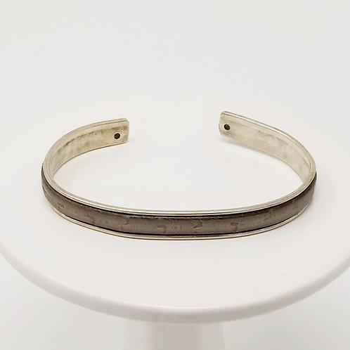Rusty Grey Embossed Adjustable Leather & Metal Cuff Bracele