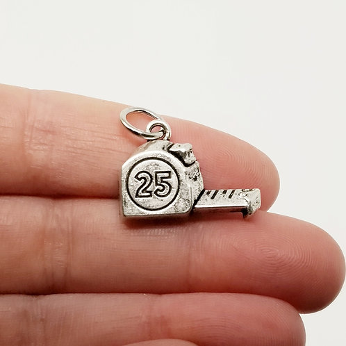 Tape Measure Silver Charm