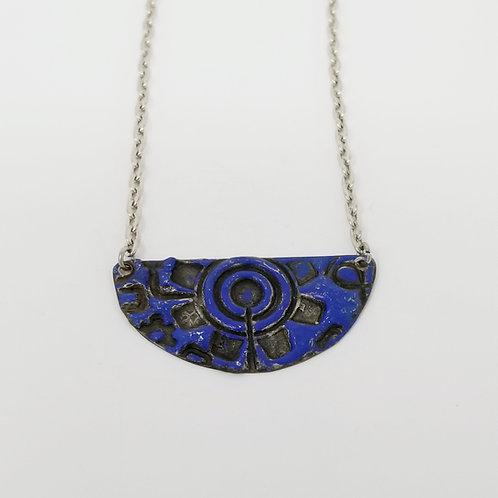Short Royal Blue Half Moon Molten Solder Necklace 6