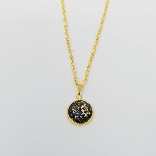 Black Gold Leaf in Gold Cabochon Pendant Necklace