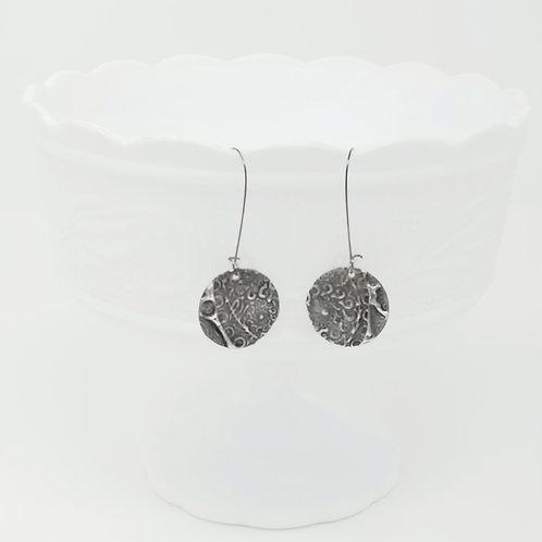 Long Circle 8 Molten Solder Earrings