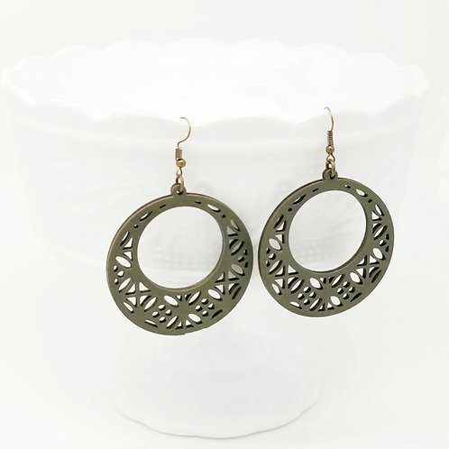 Olive Green Wood Earrings