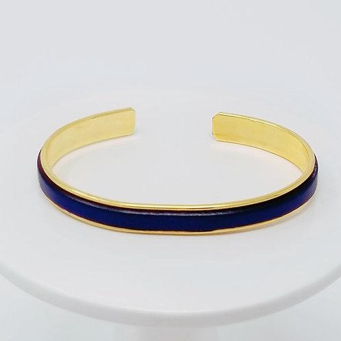 Electric Blue Adjustable Leather & Metal Cuff Bracelet