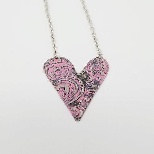 Medium Pink Heart Molten Solder Necklace 16
