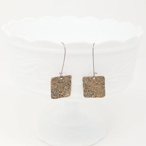 Long Square 1 Molten Solder Earrings