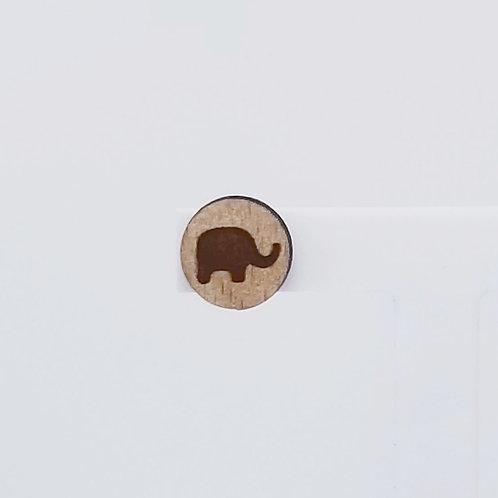 Elephant Circle Wood Stud Earrings