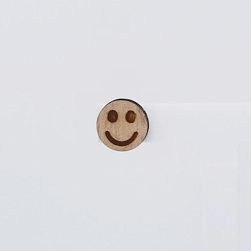 Smiley Face Circle Wood Stud Earrings