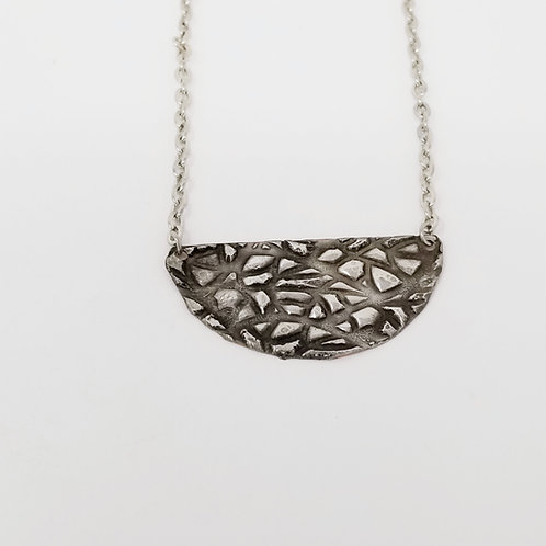 Short Patina Half Moon Molten Solder Necklace 1