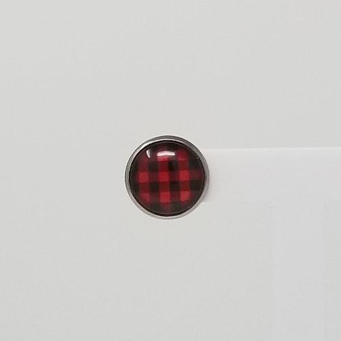 Red & Black Buffalo Plaid 12mm Round Stud Earrings