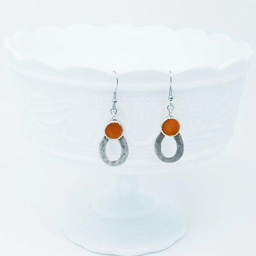 Top Circle Petal 2 Ice Resin Earrings