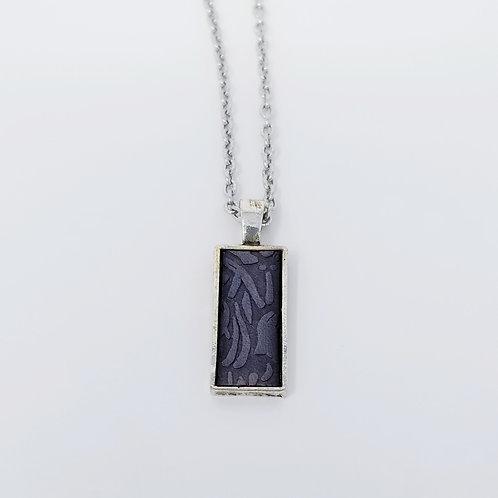 Short Dark Grey Embossed Leather & Metal Pendant Necklace 6