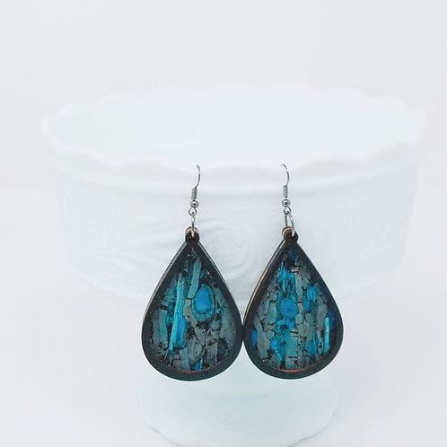 Blue Stone Cork Fabric & Wood Earrings