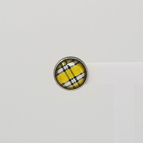 Yellow Plaid 12mm Round Stud Earrings