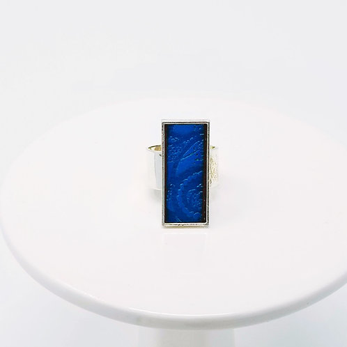 Blue Embossed Leather & Metal Ring