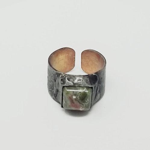 Unakite Soldered Brass Ring