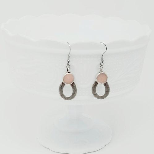 Top Circle Petal 1 Ice Resin Earrings