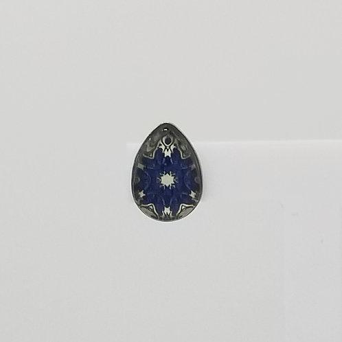 Blue Zentangled Flower 10x14mm Tear Drop Stud Earrings