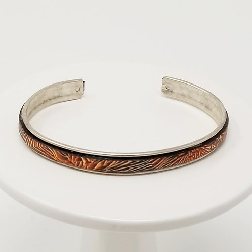 Red & Orange Flames 2 Adjustable Leather & Metal Cuff Bracelet